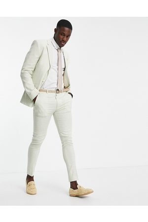 ASOS Wedding linen super skinny suit pants with puppytooth check in