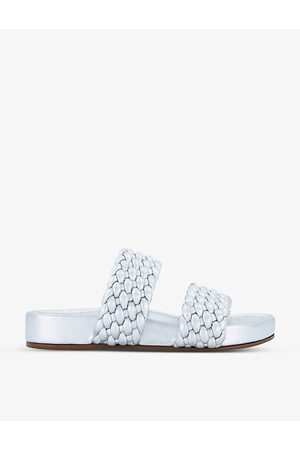 Dune Laylow double woven-strap leather sliders