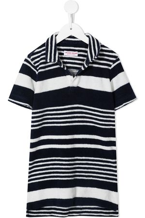 Orlebar Brown Striped longline cotton polo top