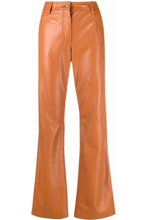 Msgm Women Formal Pants - High-waisted faux-leather trousers