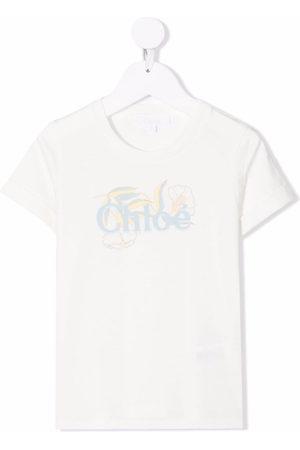 Chloé Kids Floral logo print T-shirt