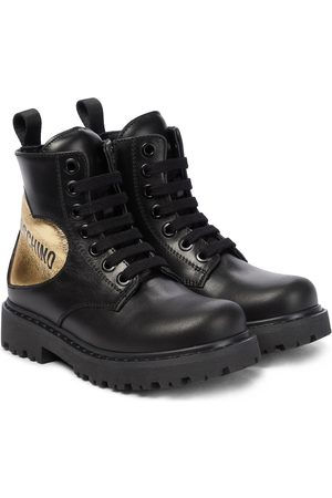 Moschino Kids Logo leather boots