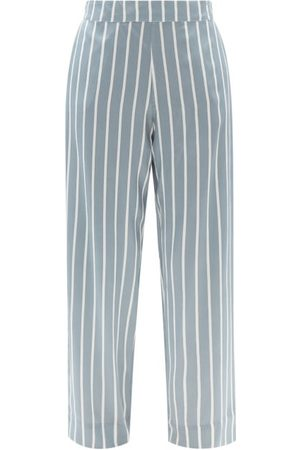 ASCENO Women Pyjamas - London Striped Sandwashed-silk Pyjama Bottoms - Womens - Stripe