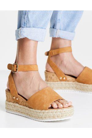 Glamorous Women Sandals - Flatform espadrille sandals in tan-Brown