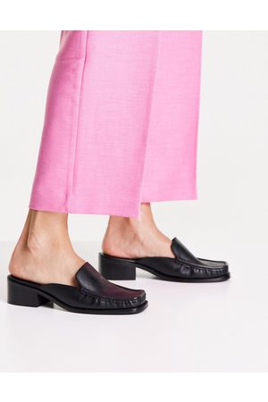 ASOS Melisa leather square-toe mule loafers in black