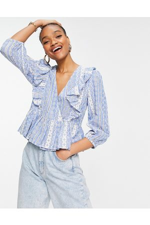 Y.A.S Peplum wrap front blouse in -Multi