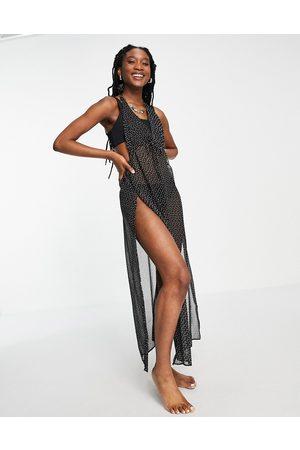 Brave Soul Halterneck beach dress in polka dot-Black