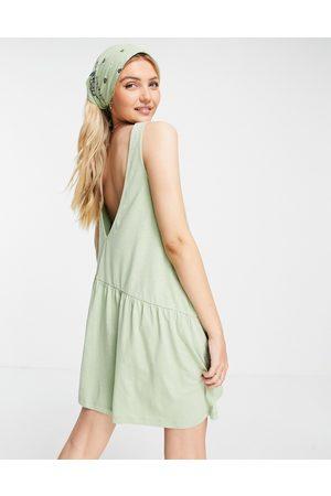 ASOS Sleeveless smock dress with v back in -Green