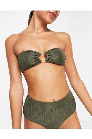 Accessorize Ring rib bandeau bikini top in -Green