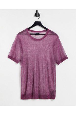 ASOS Men Short Sleeve - Knitted co-ord metallic t-shirt in