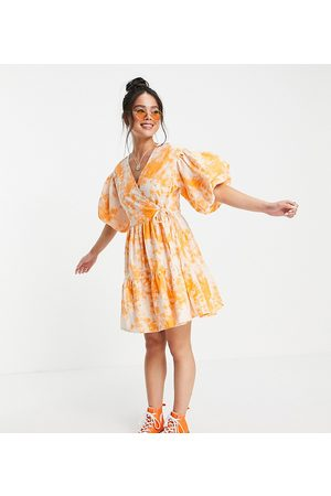 COLLUSION Broderie mini wrap dress in acid wash in and orange