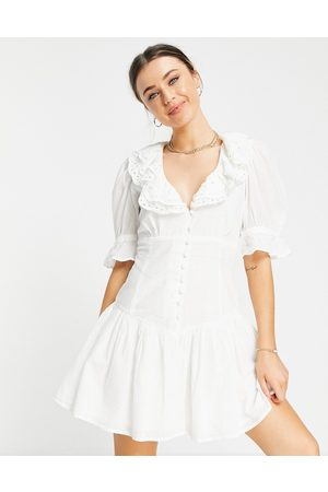 ASOS Broderie trim button through mini tea dress in