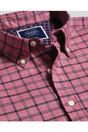 N Butto-Dow Collar o-Iro Twill Overcheck Cotto Shirt - Pik & avy Sigle Cuff Size Large by Charles Tyrwhitt