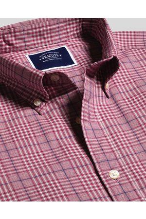 N Butto-Dow Collar o-Iro Stretch Popli Large Check Cotto Shirt - Berry Sigle Cuff by Charles Tyrwhitt