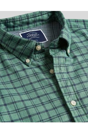 N Butto-Dow Collar Soft Washed o-Iro Twill Check Cotto Shirt - Teal Sigle Cuff Size XS by Charles Tyrwhitt