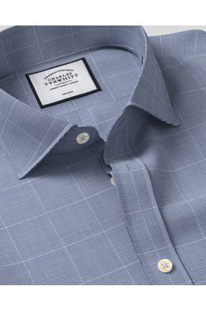 N Cutaway Collar o-Iro Cotto With Tecel™ X Refibra™ Check Tecel Mix Busiess Shirt - avy Sigle Cuff Size 37/81 by Charles Tyrwhitt