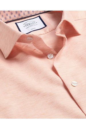 N Busiess Casual Collar Cotto Lie Shirt - Orage Sigle Cuff Size 39/84 by Charles Tyrwhitt