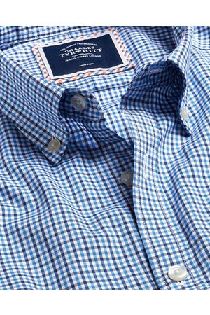 N Butto-Dow Collar o-Iro Stretch Oxford Gigham Cotto Shirt - Multi Sigle Cuff Size Large by Charles Tyrwhitt
