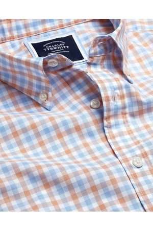N Butto-Dow Collar o-Iro Stretch Popli Gigham Cotto Shirt - Orage & Blue Sigle Cuff Size Large by Charles Tyrwhitt