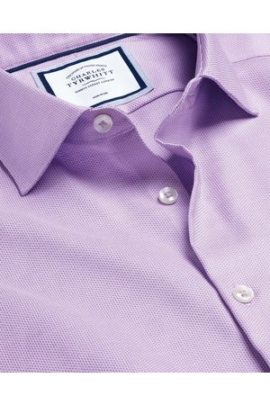 N Busiess Casual Collar o-Iro Stretch Texture Cotto Shirt - Lilac Sigle Cuff Size 39/84 by Charles Tyrwhitt