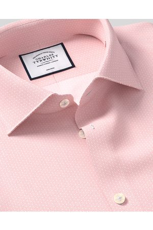 N Busiess Casual Collar o-Iro Geometric Prit Cotto Shirt - Pik Sigle Cuff Size 41/84 by Charles Tyrwhitt