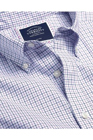 N Butto-Dow Collar o-Iro Stretch Oxford Check Cotto Shirt - Lilac & avy Sigle Cuff Size XXL by Charles Tyrwhitt