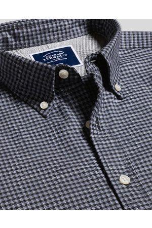 N Butto-Dow Collar o-Iro Twill Gigham Cotto Shirt - & avy Sigle Cuff Size Medium by Charles Tyrwhitt