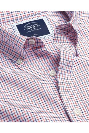 N Butto-Dow Collar o-Iro Stretch Oxford Check Cotto Shirt - Orage & Sigle Cuff Size Large by Charles Tyrwhitt