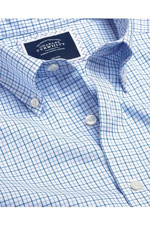 N Butto-Dow Collar o-Iro Stretch Oxford Check Cotto Shirt - & Sky Sigle Cuff Size Large by Charles Tyrwhitt