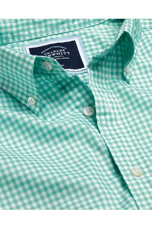 N Butto-Dow Collar o-Iro Stretch Popli Gigham Cotto Shirt - Light Gree Sigle Cuff Size Large by Charles Tyrwhitt