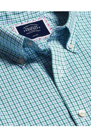 N Butto-Dow Collar o-Iro Stretch Oxford Gigham Cotto Shirt - Gree Multi Sigle Cuff Size Medium by Charles Tyrwhitt