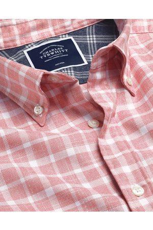N Butto-Dow Collar o-Iro Twill Check Cotto Shirt - Pik & White Sigle Cuff Size XXXL by Charles Tyrwhitt