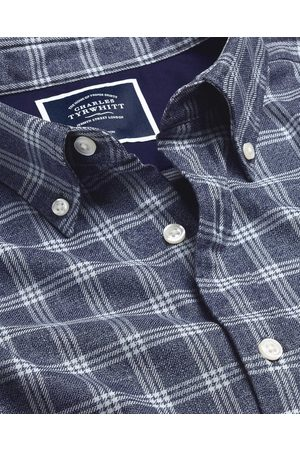 N Butto-Dow Collar o-Iro Twill Check Cotto Shirt - avy & White Sigle Cuff Size Small by Charles Tyrwhitt