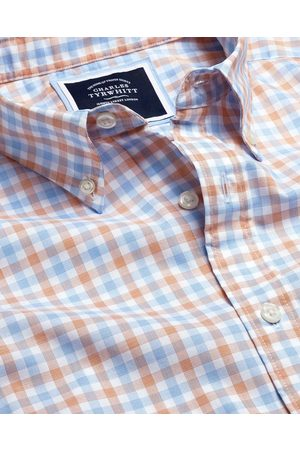 N Butto-Dow Collar o-Iro Stretch Popli Gigham Short Sleeve Cotto Shirt - Orage & Blue Sigle Cuff Size XL by Charles Tyrwhitt