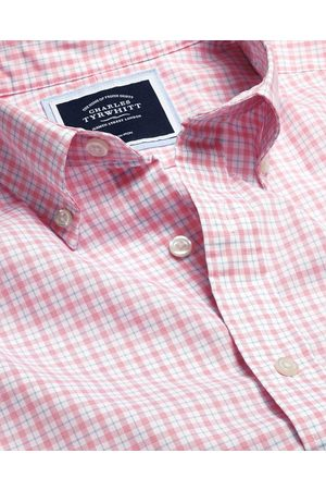 N Butto-Dow Collar o-Iro Stretch Popli Check Cotto Shirt - Coral & Blue Sigle Cuff Size Large by Charles Tyrwhitt