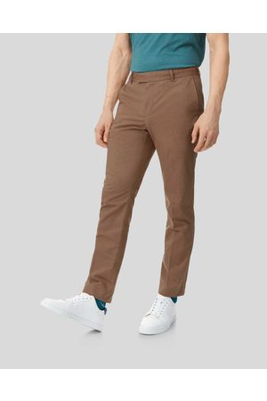 N Cotto Lie Stretch Trousers - Ochre Size W81 L86 by Charles Tyrwhitt