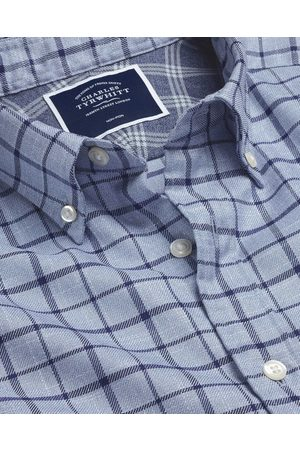 N Butto-Dow Collar o-Iro Twill Check Cotto Shirt - Sky & avy Sigle Cuff Size Small by Charles Tyrwhitt