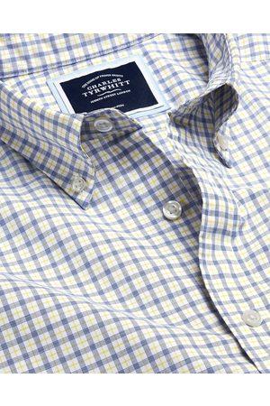 N Butto-Dow Collar o-Iro Stretch Popli Check Cotto Shirt - & Blue Sigle Cuff Size XXXL by Charles Tyrwhitt