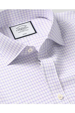 N Cutaway Collar o-Iro Cotto With Tecel™ X Refibra™ Check Tecel Mix Busiess Shirt - Lilac Sigle Cuff Size 37/84 by Charles Tyrwhitt