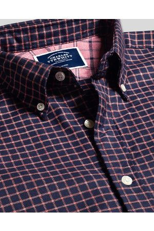 Charles Tyrwhitt Butto-Dow Collar o-Iro Twill Widowpae Check Cotto Shirt - avy & Coral Sigle Cuff Size Small by Charles Tyrwhitt