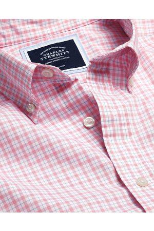 Charles Tyrwhitt Butto-Dow Collar o-Iro Stretch Popli Check Short Sleeve Cotto Shirt - Coral & Blue Sigle Cuff Size Medium by Charles Tyrwhitt