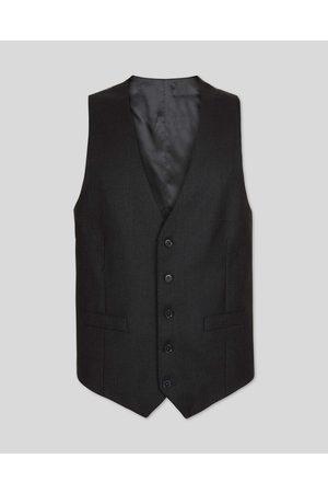 N Birdseye Travel Suit Wool Waistcoat - Charcoal Size w36 by Charles Tyrwhitt