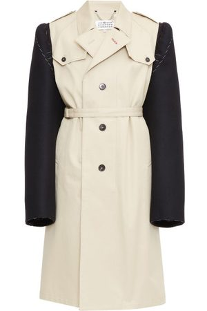 Maison Margiela Single-breasted Contrast-sleeve Cotton Trench Coat - Womens - Cream
