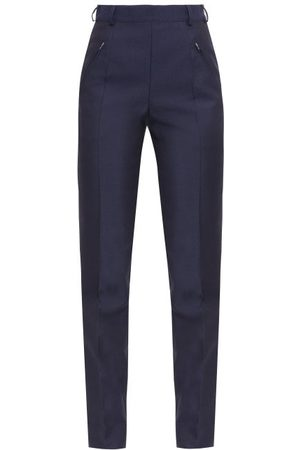Maison Margiela Four-stitches Wool-blend Fresco Slim-leg Trousers - Womens - Navy