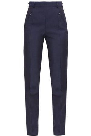 Maison Margiela Women Skinny Pants - Four-stitches Wool-blend Fresco Slim-leg Trousers - Womens - Navy