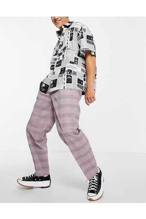 ASOS Oversized tapered smart pants in lilac linen check-Purple