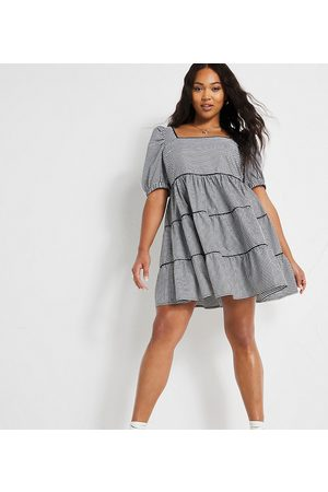 Simply Be Smock dress with puff sleeves in gingham check