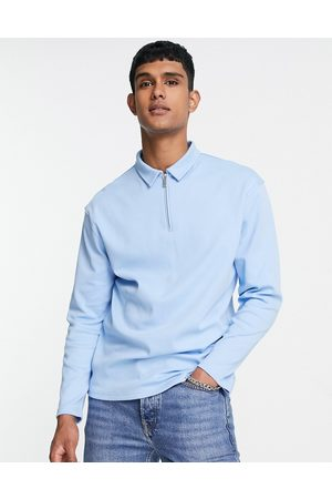 Topman Long sleeved jersey zip polo shirt in