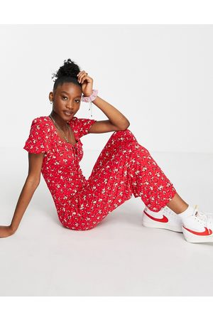 ASOS Lace-up jumpsuit in red ditsy floral-Multi
