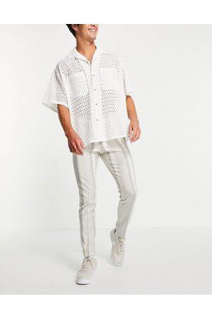 ASOS Skinny suit pants with cotton linen stripe-Neutral